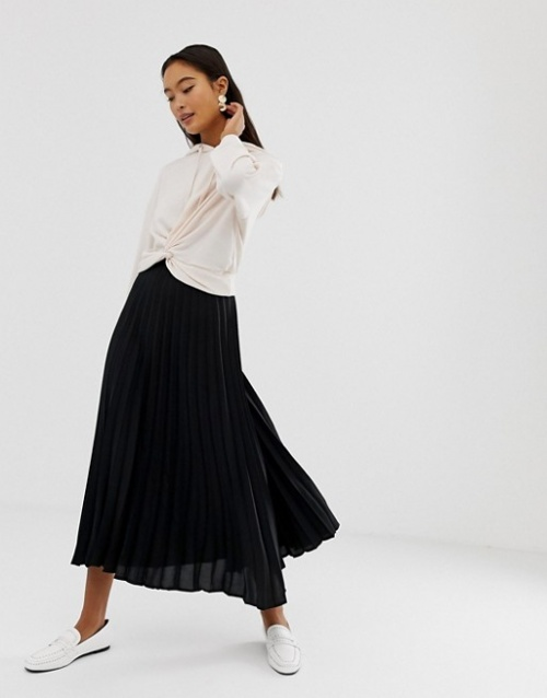 New Look - Jupe mi-longue plissée
