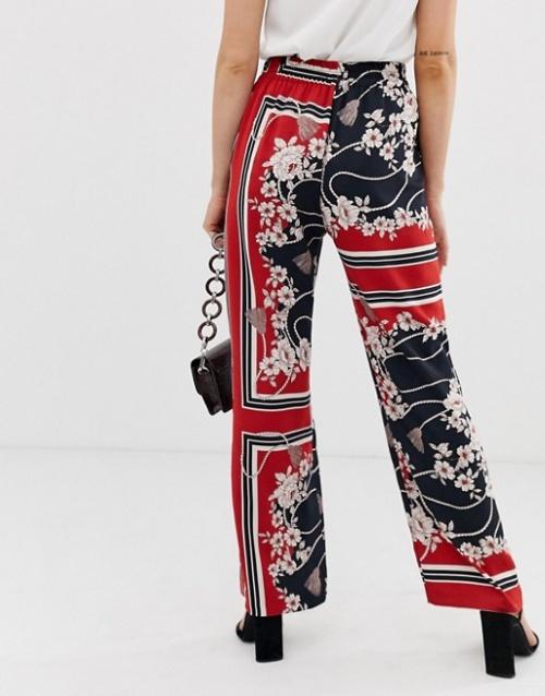 River Island - Pantalon large à imprimé foulard