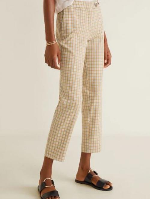 Mango - Pantalon droit à carreaux