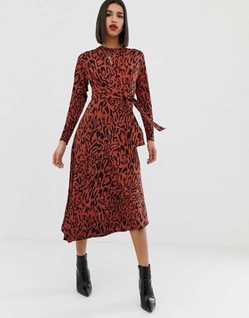 ASOS DESIGN - Robe longue à imprimé animal