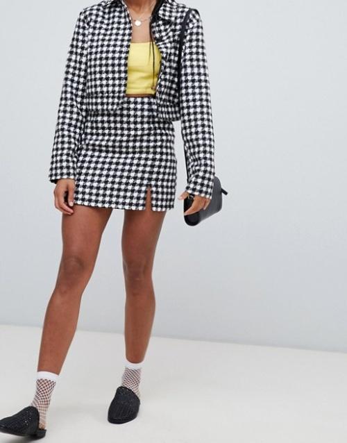 Emory Park - Mini-jupe d'ensemble avec fente et motif pied-de-poule