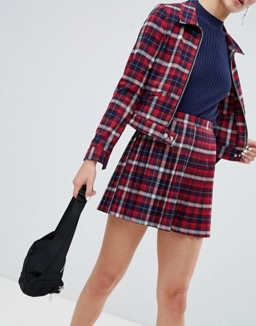 Monki - Mini-jupe d'ensemble plissée à carreaux