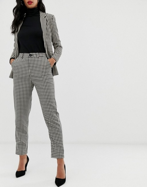 Fashion Union - Pantalon slim à motif pied-de-poule