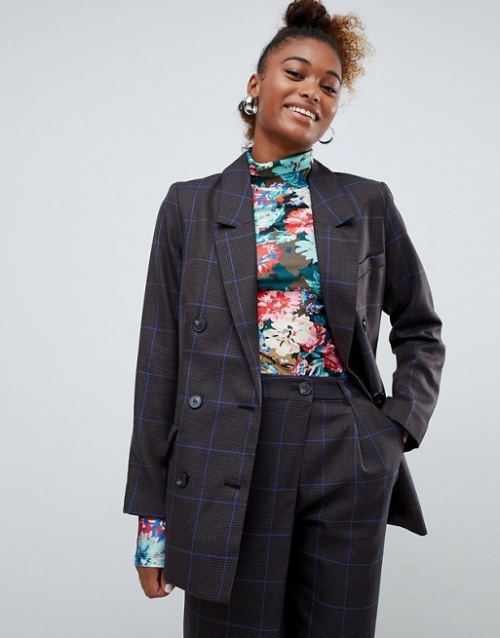 Monki - Blazer d'ensemble coupe croisée à carreaux