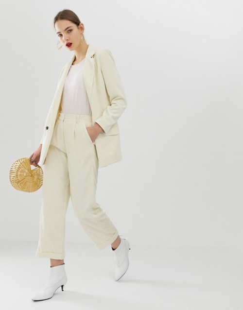 Moss Copenhagen - Pantalon ajusté d'ensemble en velours côtelé