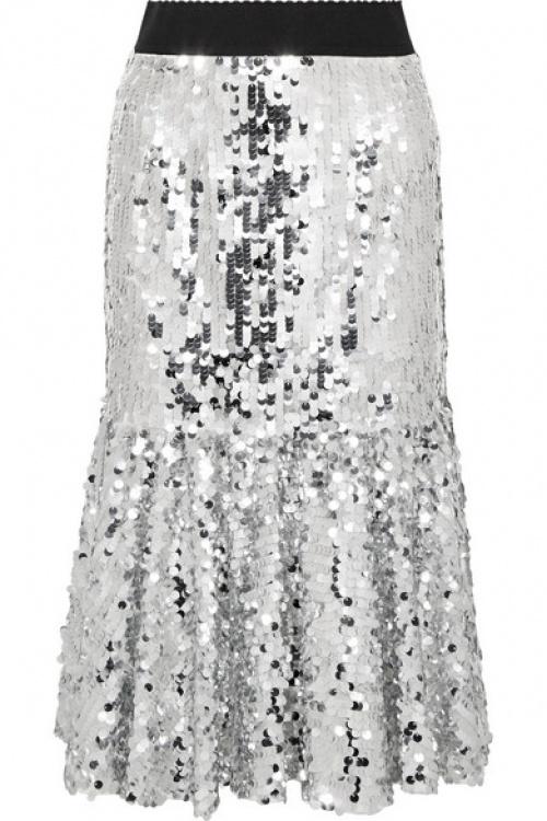 Dolce & Gabbana - Jupe midi en tulle à paillettes