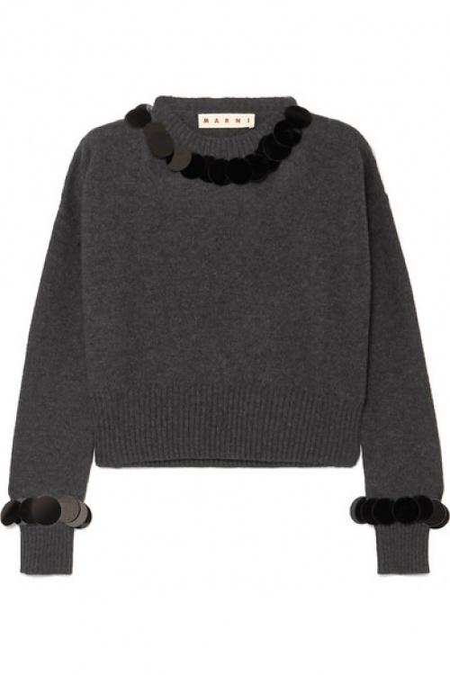 Marni - Pull raccourci en laine et cachemire mélangés à paillettes