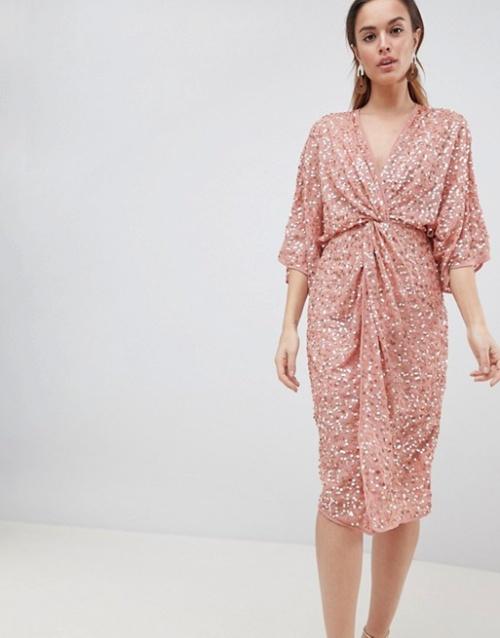 ASOS DESIGN - Robe mi-longue style kimono avec nœud sur le devant et sequins éparpillés