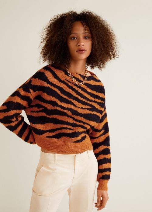 Mango- Pull imprimé tigre