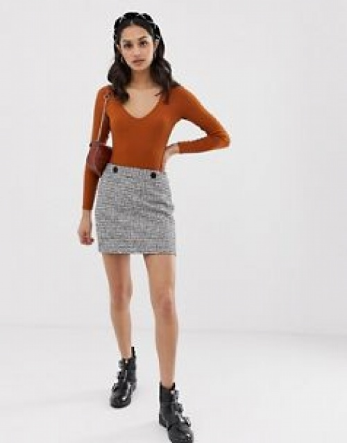 Miss Selfridge - Mini-jupe trapèze en tissu bouclé à carreaux