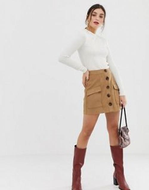 Stradivarius - Mini-jupe aspect daim boutonnée sur le devant