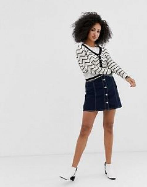 River Island - Mini-jupe en jean avec couture contrastante