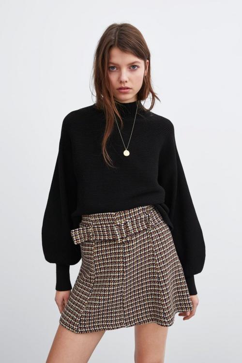 Zara - Mini jupe en tweet à ceinture