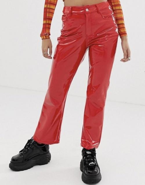 One Above Another- Pantalon large en vinyle