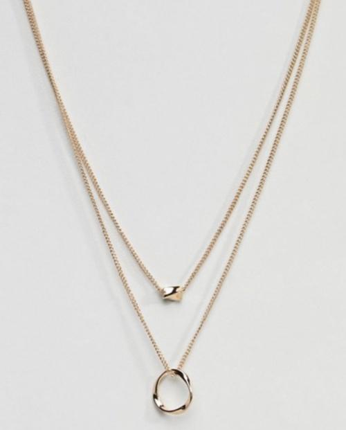 Asos- Collier avec anneau torsadé et pépite de perle