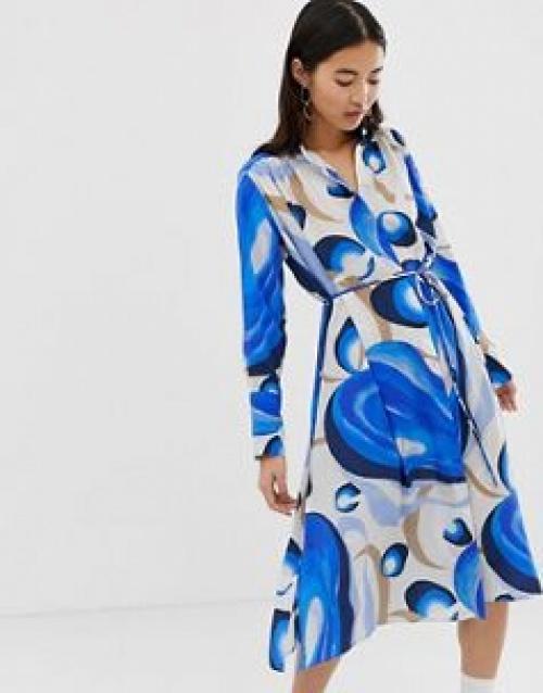 Weekday - Robe longue à smocks et imprimé style aquarelle