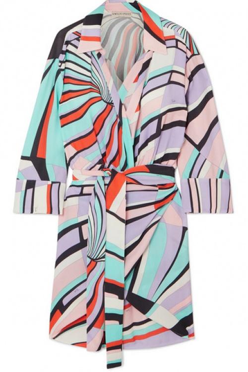Emilio Pucci - Mini-robe effet portefeuille en crêpe imprimé