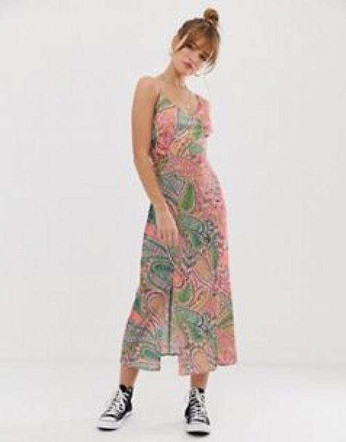 Glamorous - Robe caraco mi-longue à imprimé jungle artistique
