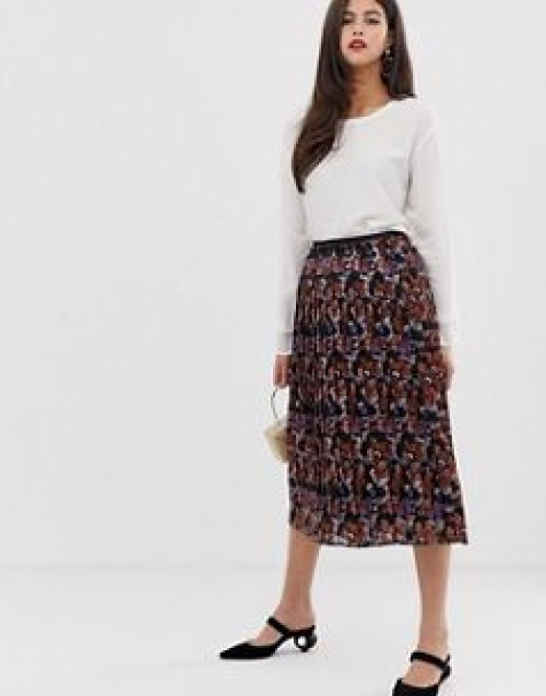 Y.A.S - Jupe mi-longue plissée à imprimé foulard