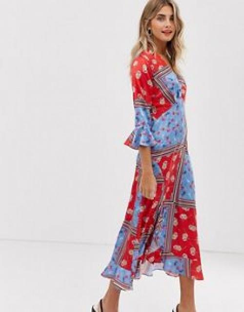 Liquorish - Robe cache-cœur longueur mollet à imprimé foulard floral