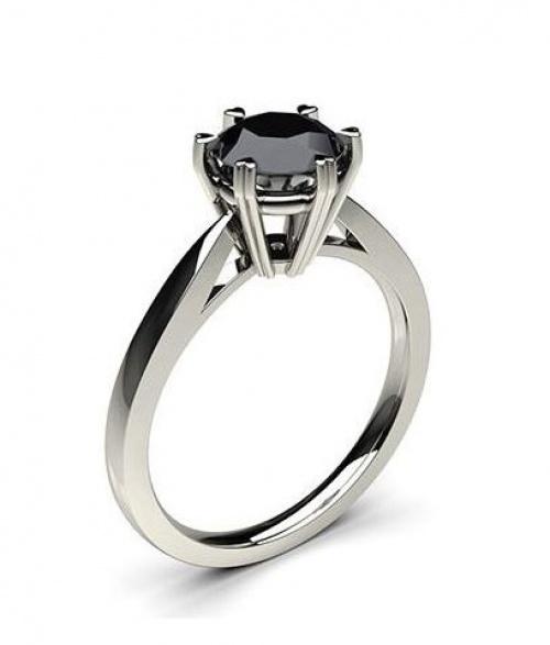 Diamonds Factory - Bague de fiançailles fine solitaire diamant noir Rond serti 6 griffes profil cœur