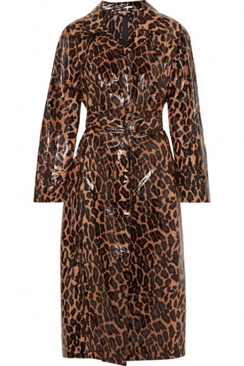 Miu Miu - Trench-coat en coton à enduit PU glacé à imprimé léopard et à ceinture
