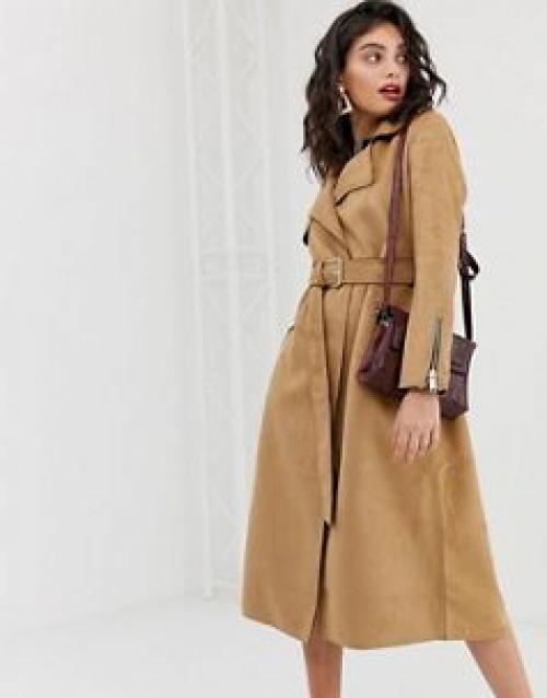 River Island - Trench-coat en suédine avec ceinture