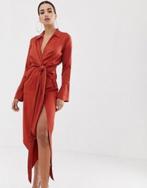 ASOS DESIGN - Robe chemise mi-longue en satin avec lien à la taille