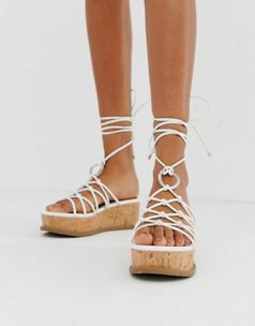 ASOS DESIGN - Chaussures à plateforme avec fins liens à nouer aux chevilles