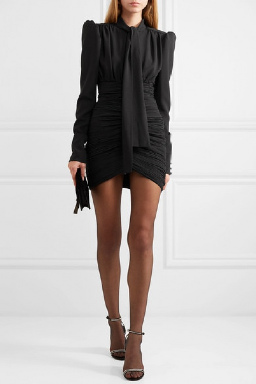 Saint-Laurent - Mini-robe en crêpe froncé nouée sur le devant