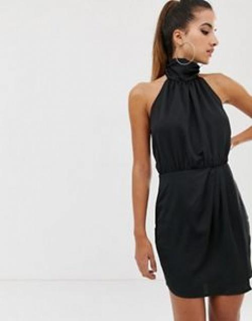 Missguided - Robe courte dos nu en satin froncé