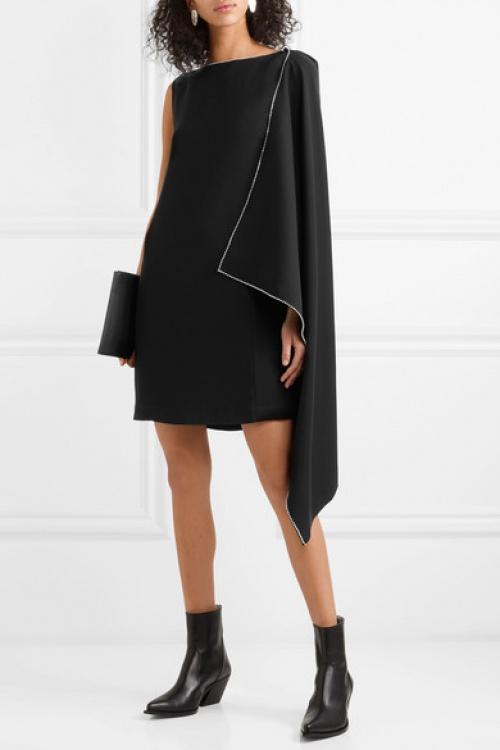 McQ Alexander McQueen - Mini-robe en crêpe à drapé et à cristaux