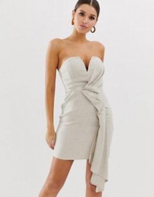 ASOS DESIGN - Robe courte bandeau en lin texturé à détail drapé