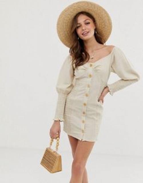 ASOS DESIGN - Robe courte froncée en lin avec boutons