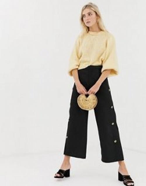 Glamorous - Pantalon large boutonné sur le côté