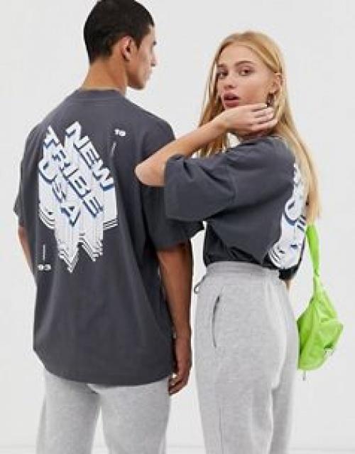COLLUSION - T-shirt unisexe oversize avec imprimé dans le dos