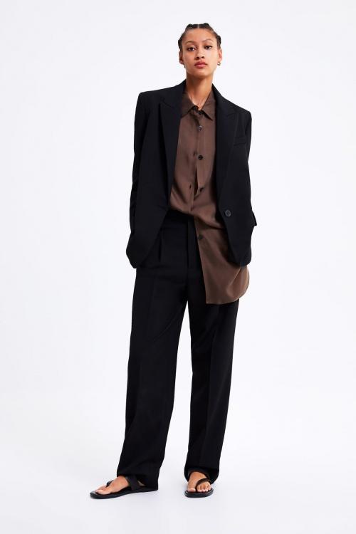 Zara - Pantalon large à pinces