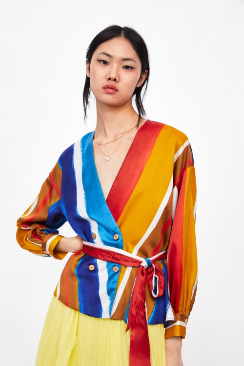 Zara - Blouse à rayures et ceinture