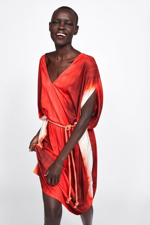 Zara - Robe tie & dye à ceinture