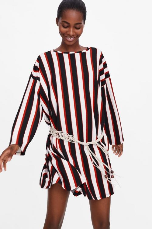 Zara - Robe à rayures et ceinture
