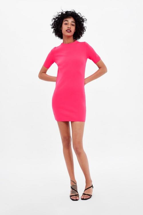 Zara - Robe en maille fluo