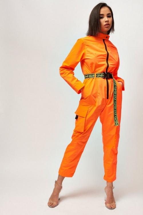 Topshop - Combinaison ample orange fluo