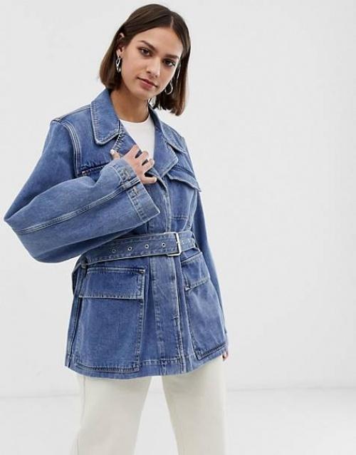 Selected Femme - Veste en jean ceinturée