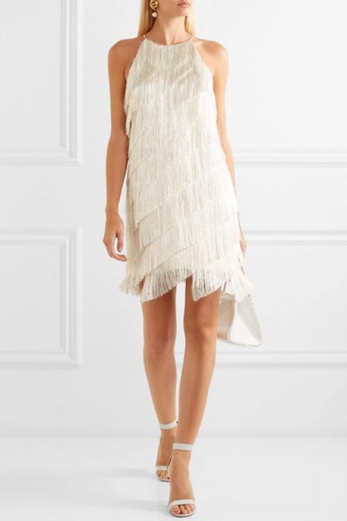 Halston Heritage - Mini-robe en crêpe satiné à franges