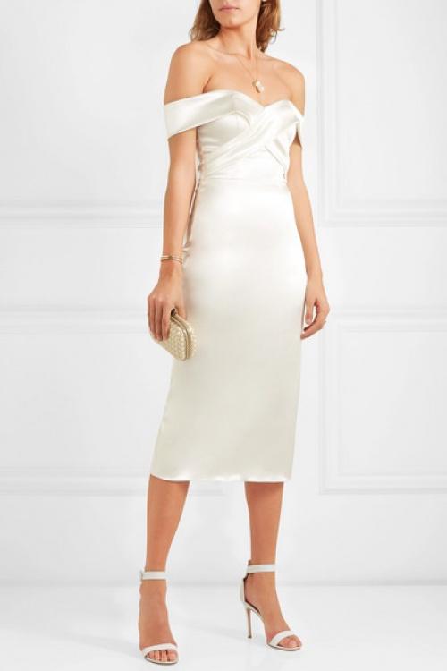 Halfpenny London - Robe de mariée midi épaules nues en satin Kelly