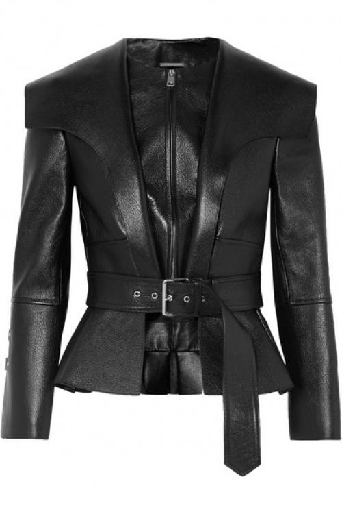 Alexander McQueen - Veste à basque en cuir texturé à ceinture