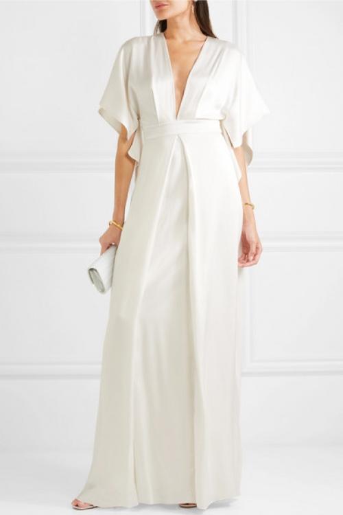 Temperley London - Robe de mariée effet cape en satin de soie