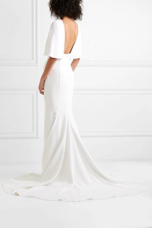 Cushnie - Robe de mariée en crêpe effet cape
