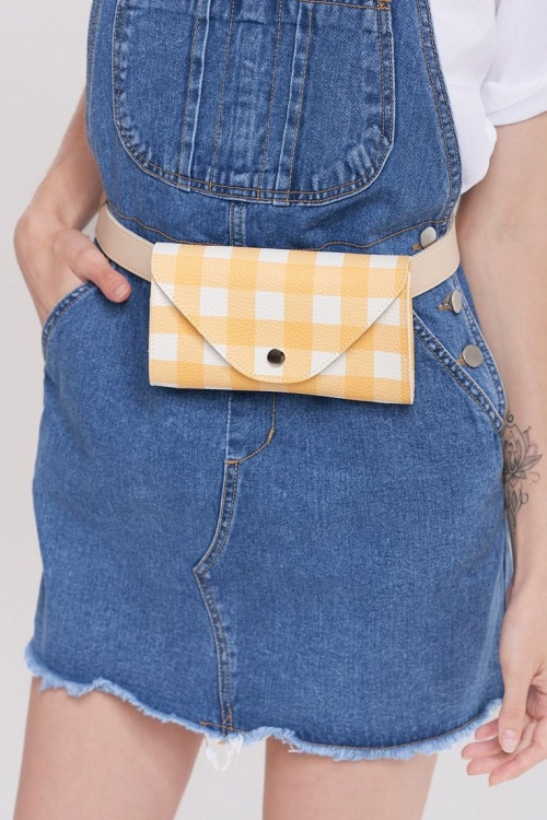 Storets - Gingham Check Belt Bag-Yellow