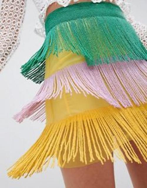 ASOS DESIGN - Mini-jupe à effet superposé et ornements